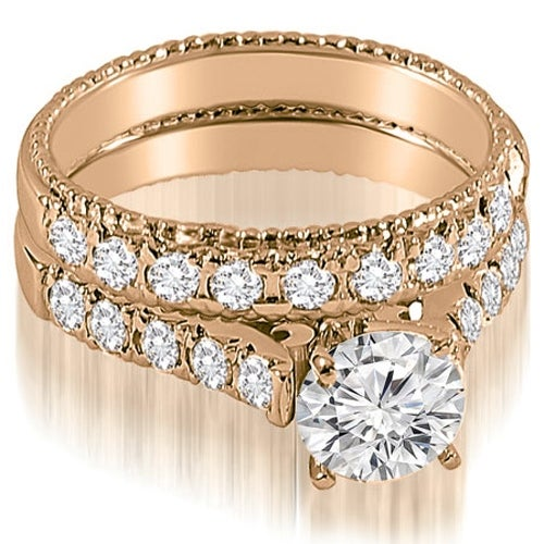 1.75 cttw. 14K Rose Gold Vintage Cathedral Round Cut Diamond Bridal Set