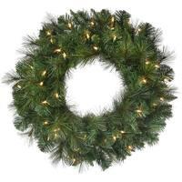 """Deluxe Belgium Wreath 24"""" 140 Tips-Two-Tone Green"""