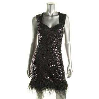 Guess Womens Ostrich Feather Trim Sleeveless Cocktail Dress
