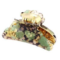 Women Spring Loaded Flower Print Plastic Hair Jaw Claw Clamp Clip