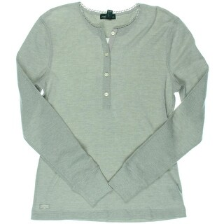 LRL Lauren Jeans Co. Womens Henley Top Waffle Heathered