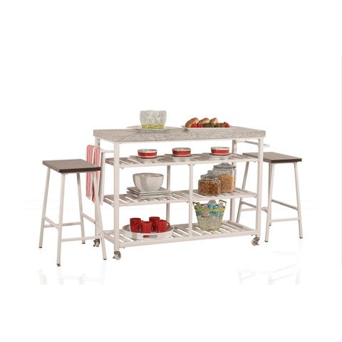 Hillsdale Furniture 4701-8G3 Kennon 3 Piece Metal Framed Granite Top Island Cart Set with Casters