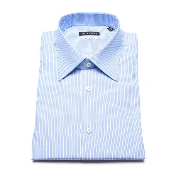 Valentino Men's Slim Fit Pinstripe Cotton Dress Shirt Light Blue