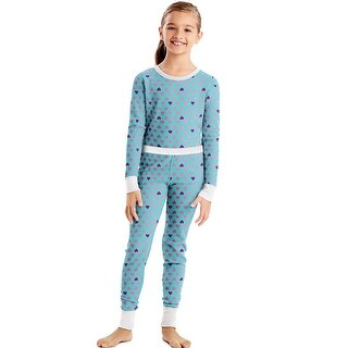 Hanes X-Temp®; Girls' Organic Cotton Printed Thermal Set - Size - S - Color - Pink Hearts