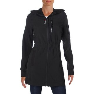 Reebok Womens Soft Shell Jacket Cinched Waist Knit Trim