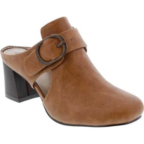 Bellini Women's Piper Block Heel Mule Brown Faux Buck