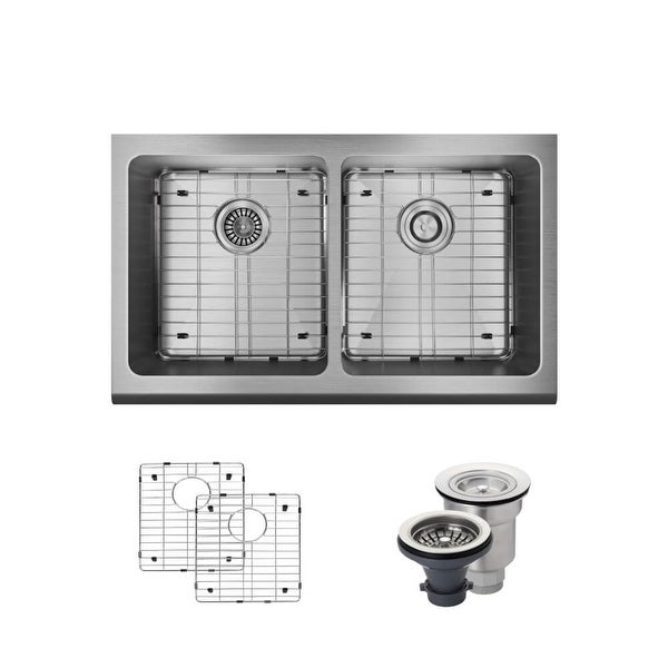 "Rene R1-3002 32-3/4"" Double Basin Stainless Steel Kitchen Sink - Basin Rack and Basket Strainer Included"