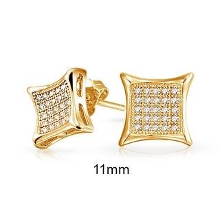 Bling Jewelry Micro Pave CZ Kite Unisex Stud earrings Gold Plated 11mm