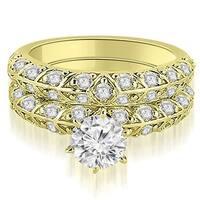 2.23 cttw. 14K Yellow Gold Antique Round Cut Diamond Engagement Set