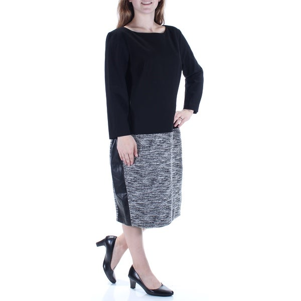 e1cdea3afc9d Shop Womens Black Long Sleeve Midi Shift Dress Size  6 - On Sale ...
