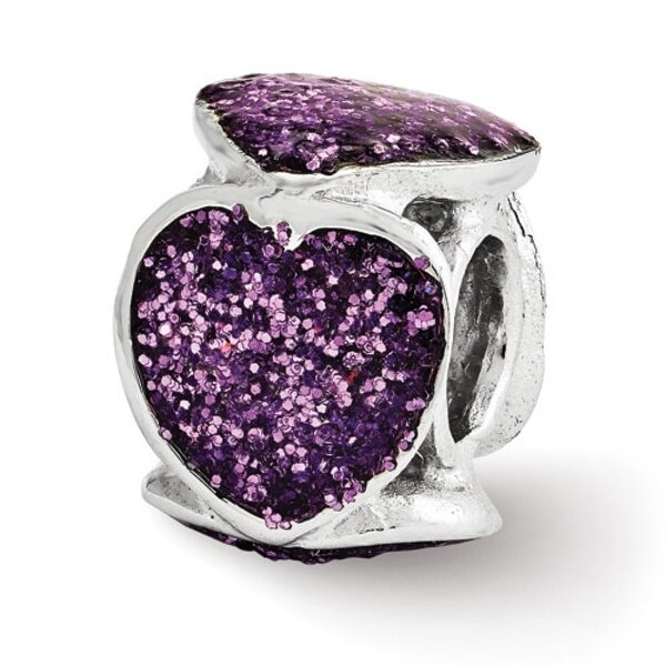 Italian Sterling Silver Reflections Purple Glitter Enameled Heart Bead (4mm Diameter Hole)