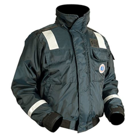 "23"" Navy Blue and White Mustang Multipurpose X-Large Classic Bomber Flotation Jacket with Reflective Tape"