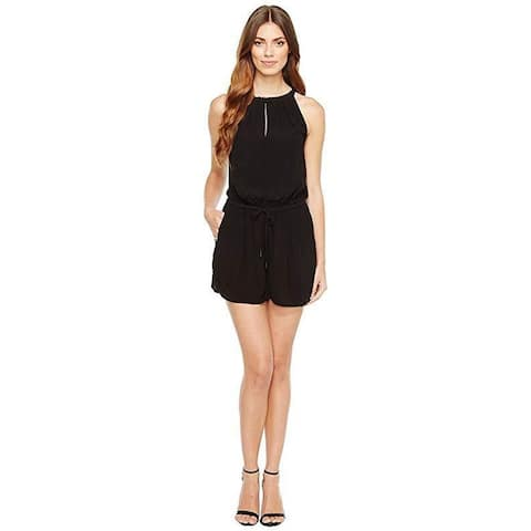 Calvin Klein Jeans Women's High Neck Bare Romper Black Jumpsuit SZ M