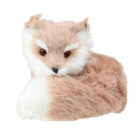 """3.25"""" Brown and White Woodland Furry Sitting Fox Christmas Ornament"""