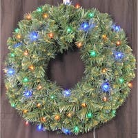 Christmas at Winterland WL-GWSQ-03-L4M-BAT 3 Foot Pre-Lit Battery Operated Multicolor LED Sequoia Wreath Indoor / Outdoor