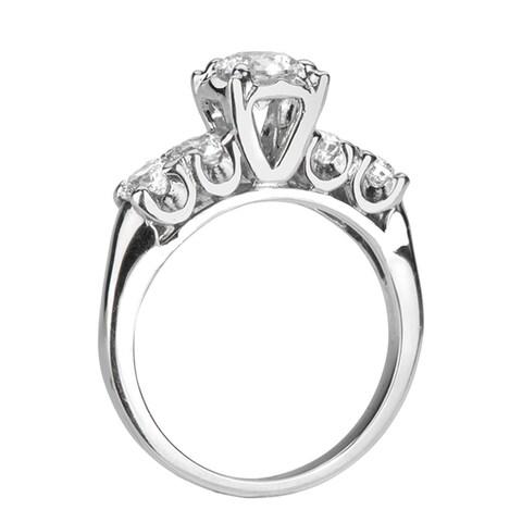 FENELLA Five Stone White Sapphire Palladium Engagement Ring with Polished Finish