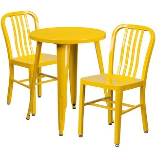 Brimmes 3pcs Round 24'' Yellow Metal Table w/2 Vertical Slat Back Chairs