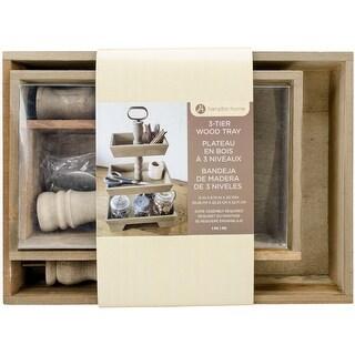 "Hampton Art Rustic 3-Tier Wooden Tray-Rectangle 12""X9"", 10""X6.5"" & 7.5""X4.5"""