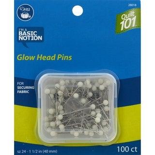 Dritz Quilt 101 Glow Ball Head Pins-Size 24 100/Pkg - size 24 100/pkg