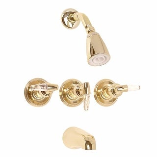 Tub Faucet Brass Tub/Shower Set w/3 Handles Wall Mount