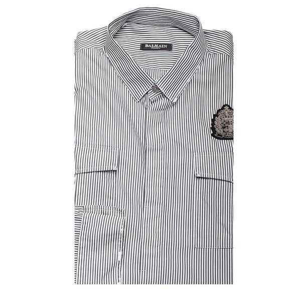 94f331f85 Shop Balmain Men's Military Cotton Striped Dress Shirt White Black - Free  Shipping Today - Overstock - 17167661
