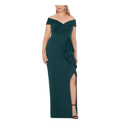 XSCAPE Green Sleeveless Full-Length Empire Waist Dress Size 16W