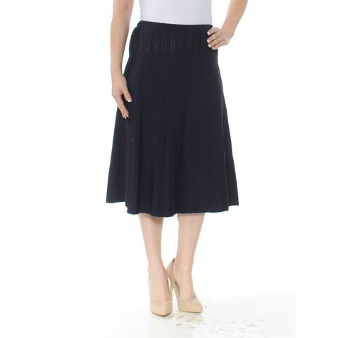 CALVIN KLEIN Womens Navy Ribbed Sweater-knit Midi Skirt Size: S