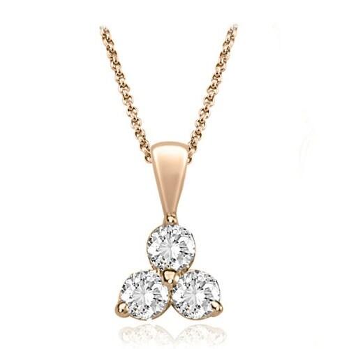 0.50 cttw. 14K Rose Gold Classic Three-Stone Diamond Pendant
