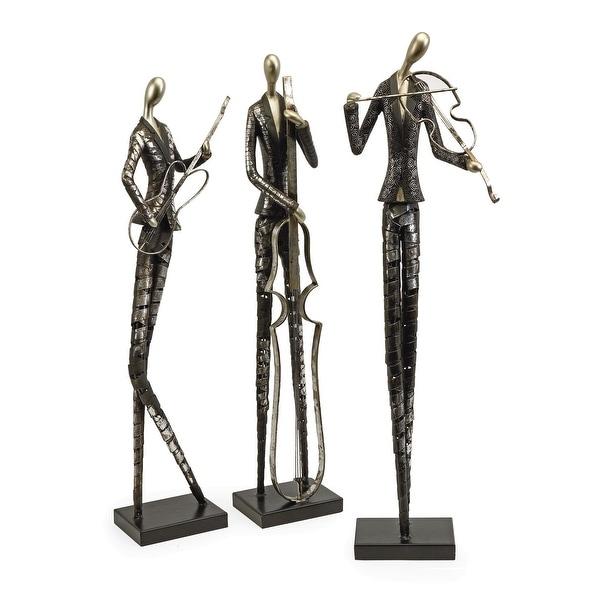 IMAX Home 53030-3 Jazz Club Musician Three Piece Polyresin Statue Set - Silver