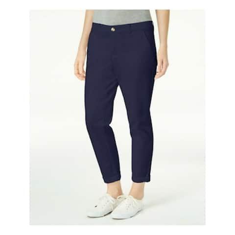 MAISON JULES Womens Navy Pocketed Zippered Straight leg Pants Size 6