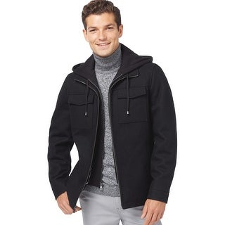 INC International Concepts Hooded Bib Wool Blend Jacket Black Small S