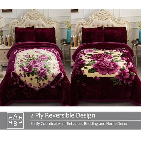 """2 Ply A&B Printed Raschel Bed Blanket 85"""" x 93""""-10 Pounds"""