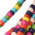 Dyed Magnesite Gemstone Beads, Heishi Cylinders 2.5x4mm, 15.5 Inch Strand, Multi Color - Thumbnail 0