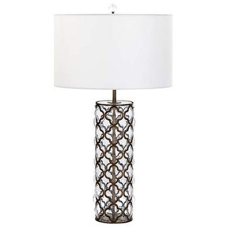 Cyan Design Large Corsica Table Lamp Corsica 1 Light Accent Table Lamp with White Shade - satin brass