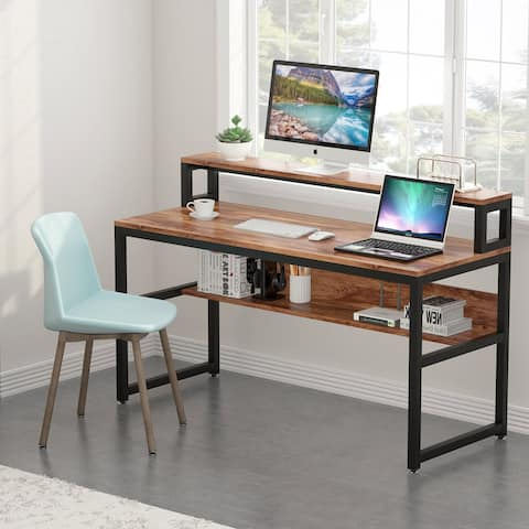 "55"" Computer Desk with Bookshelf"