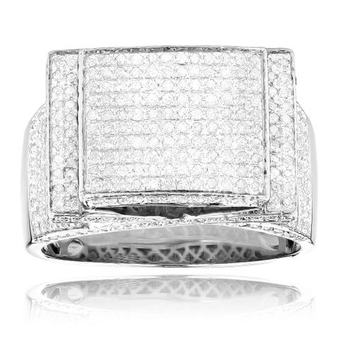 Men's Sterling Silver 1 3/4ct TDW Pave Diamond Ring - White