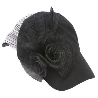 Womens Fashion Baseball Cap w/ Flower Veil