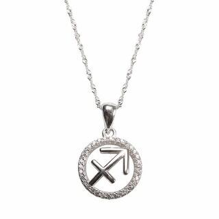 Women's Sagittarius Horoscope Zodiac Sign Sterling Silver Pendant Necklace
