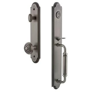 "Grandeur ARCCGRWIN_ESET_234  Arc Solid Brass Rose Keyed Entry Single Cylinder Full Plate ""C"" Grip Handleset with Windsor Knob"