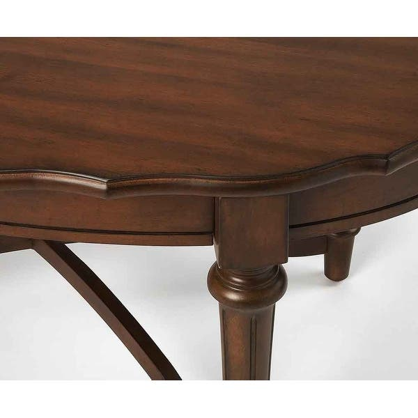 Kendrick Distressed Solid Mahogany Wood Cocoa Coffee Table Oval