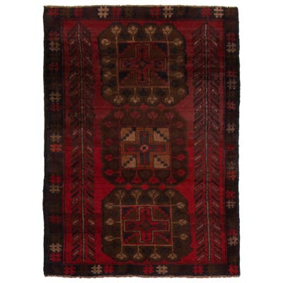 ECARPETGALLERY Hand-knotted Baluch Dark Red Wool Rug - 2'11 x 4'5