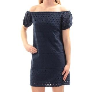 CITY STUDIO $59 Womens New 1361 Navy Eyelet Sheath Dress XS Juniors B+B