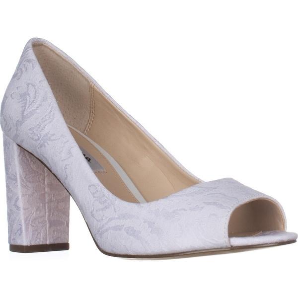 Nina Farlyn Peep-Toe Dress Pumps, Ivory Bridal - 9.5 us