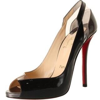 Christian Louboutin Womens Technicatina 120 Patent Leather Peep-Toe Heels - 36