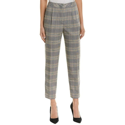 1.State Women's Black Dress Pants Size 10 Stretch Glen Plaid Cropped
