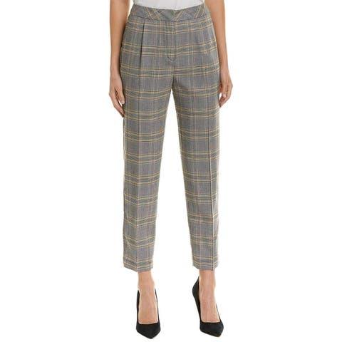 1.State Womens Pants Black Size 6 Dress Plaid-Print High-Rise Stretch