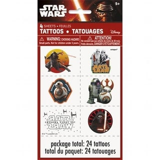 The Force Awakens Temporary Childrens Party Tattoos, 4 Sheets