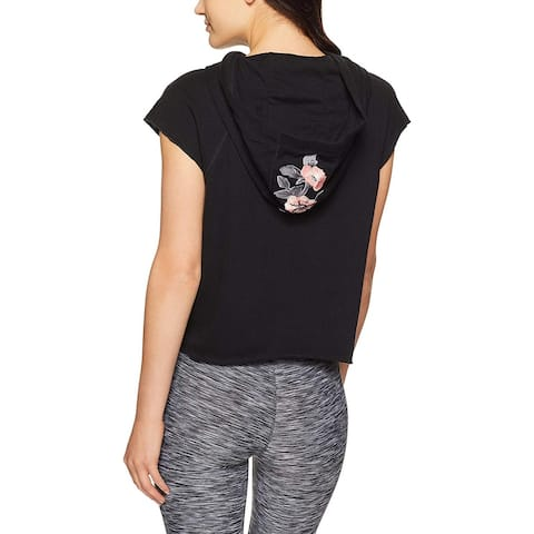 Calvin Klein Performance Women's Floral Patch Cropped Hoodie (Black, XL) - XL