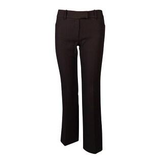 Tahari Women's Straight Leg Striped Textured Dress Pants (0P, Brown)