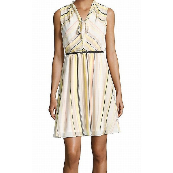 69b48d8e521 Shop Calvin Klein Yellow Women s Size 8 Tie-Neck Sheath Belted Dress - Free  Shipping On Orders Over  45 - Overstock - 21806892